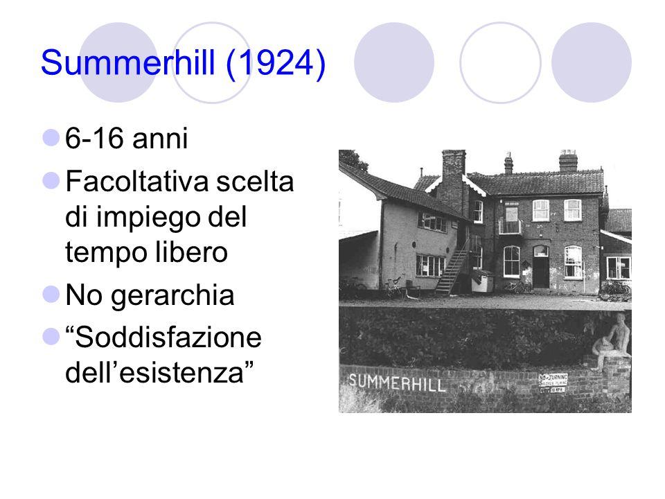 Summerhill (1924) 6-16 anni Facoltativa scelta di impiego del tempo libero No gerarchia Soddisfazione dellesistenza