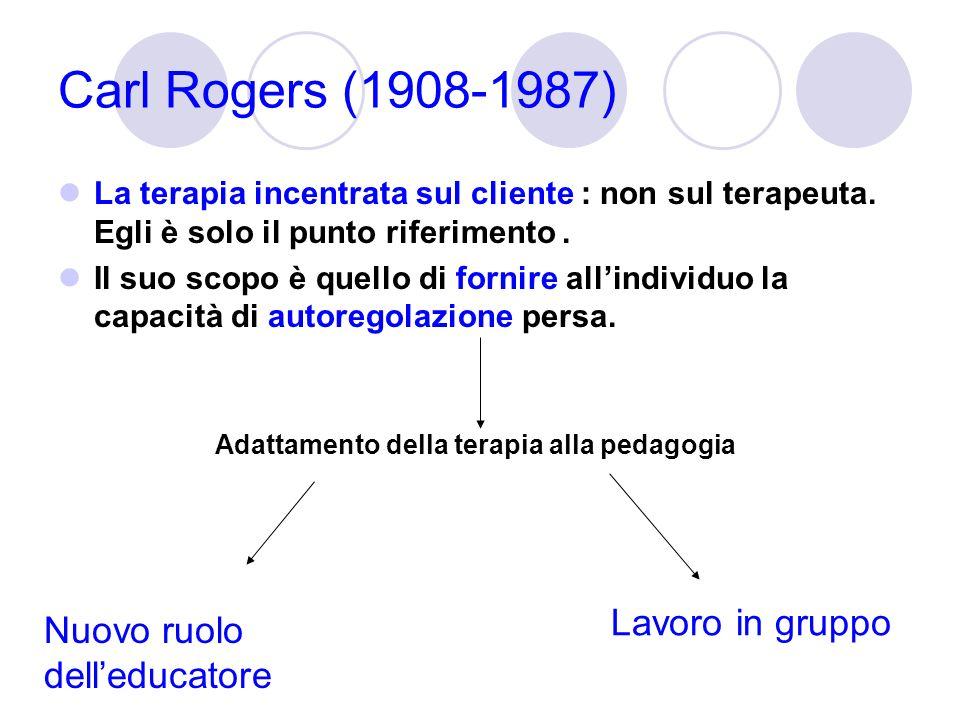 Carl Rogers (1908-1987) La terapia incentrata sul cliente : non sul terapeuta. Egli è solo il punto riferimento. Il suo scopo è quello di fornire alli