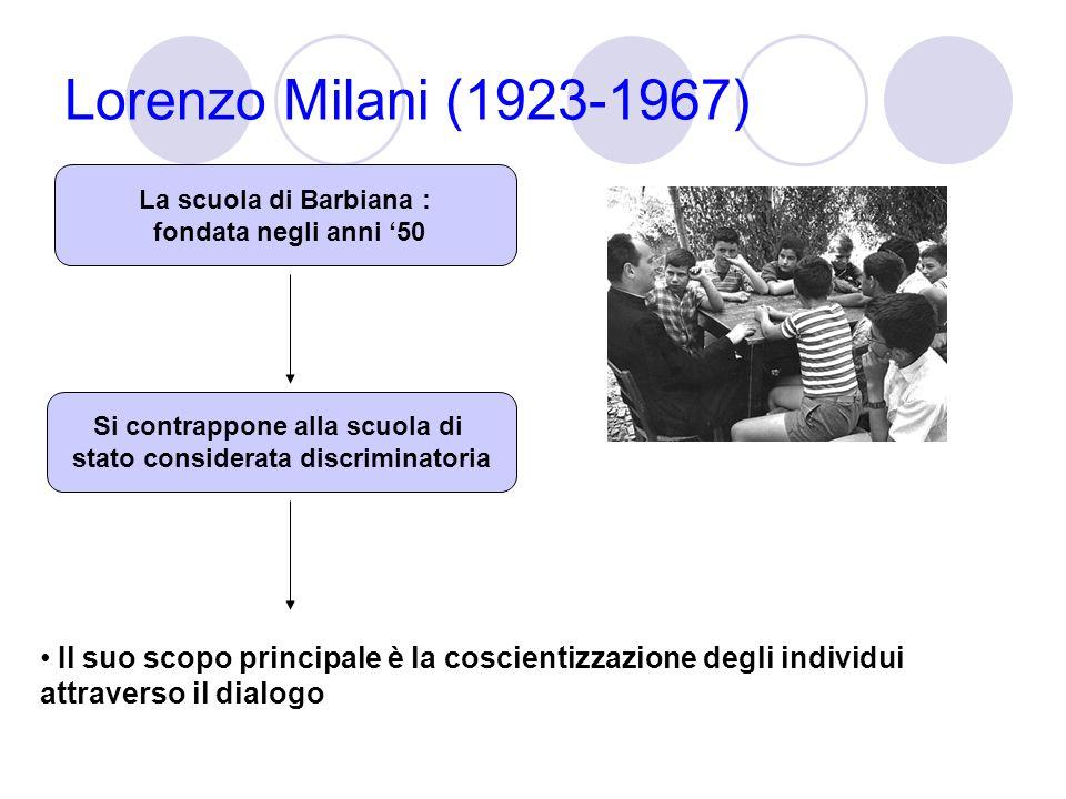 Lorenzo Milani (1923-1967) Il suo scopo principale è la coscientizzazione degli individui attraverso il dialogo La scuola di Barbiana : fondata negli