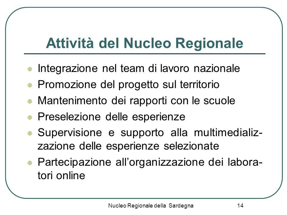 Nucleo Regionale della Sardegna 14 Attività del Nucleo Regionale Integrazione nel team di lavoro nazionale Promozione del progetto sul territorio Mant
