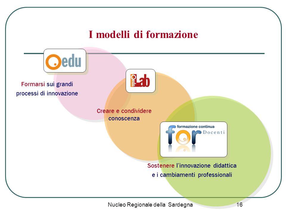 Nucleo Regionale della Sardegna 16 I modelli di formazione Formarsi sui grandi processi di innovazione Creare e condividere conoscenza Sostenere linno