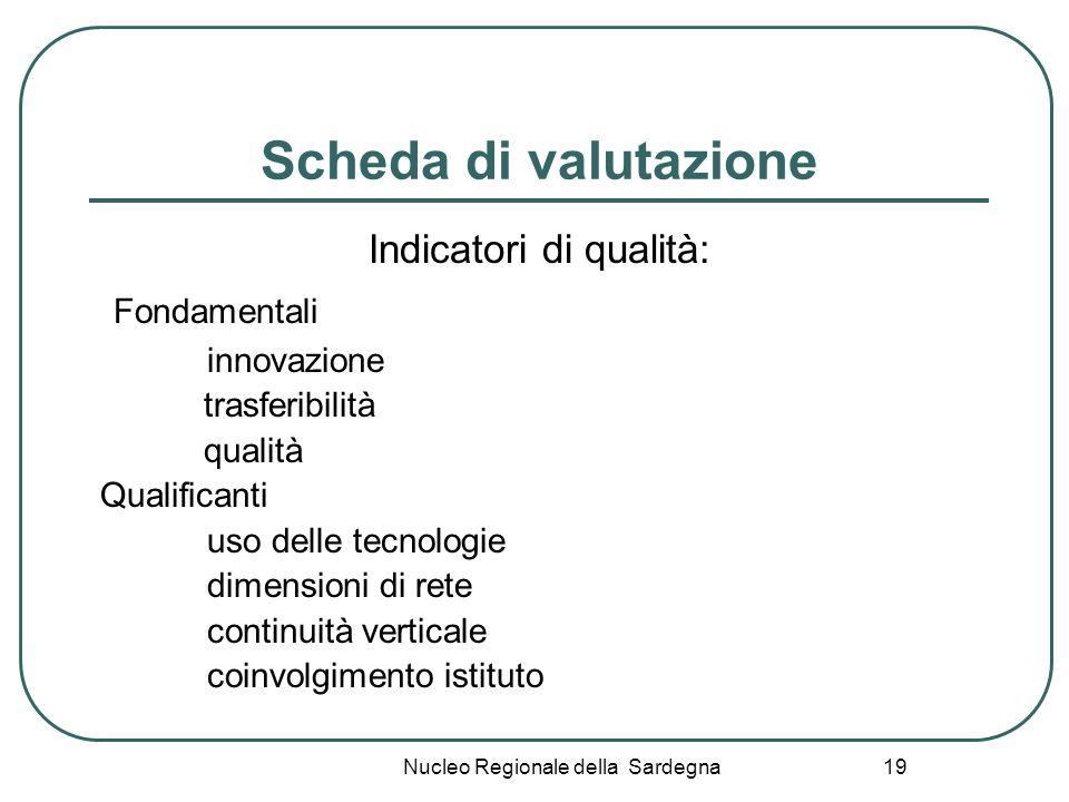 Nucleo Regionale della Sardegna 19 Scheda di valutazione Indicatori di qualità: Fondamentali innovazione trasferibilità qualità Qualificanti uso delle