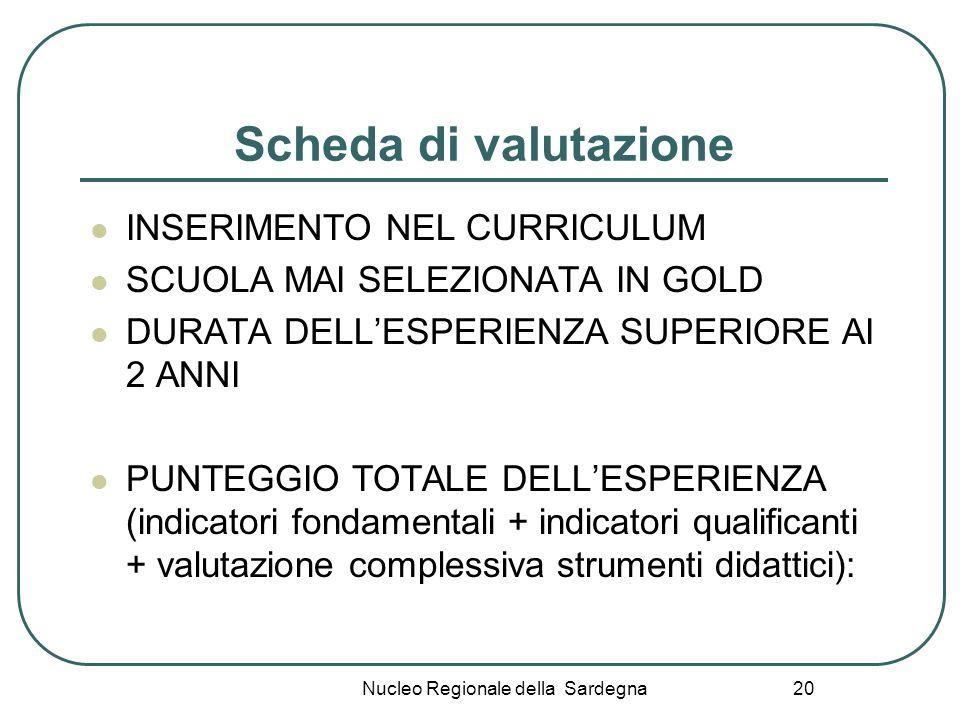 Nucleo Regionale della Sardegna 20 Scheda di valutazione INSERIMENTO NEL CURRICULUM SCUOLA MAI SELEZIONATA IN GOLD DURATA DELLESPERIENZA SUPERIORE AI