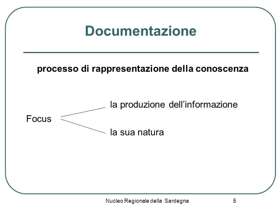 Nucleo Regionale della Sardegna 5 Documentazione processo di rappresentazione della conoscenza la produzione dellinformazione Focus la sua natura