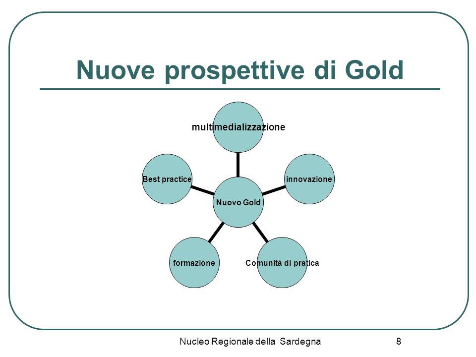 Nucleo Regionale della Sardegna 9 Obiettivi di GOLD: continuità e innovazione Condivisione del patrimonio di conoscenza didattica Standard condivisi Logica di rete Nuovi linguaggi della documentazione multimediale Coinvolgimento emotivo Attività laboratoriali online