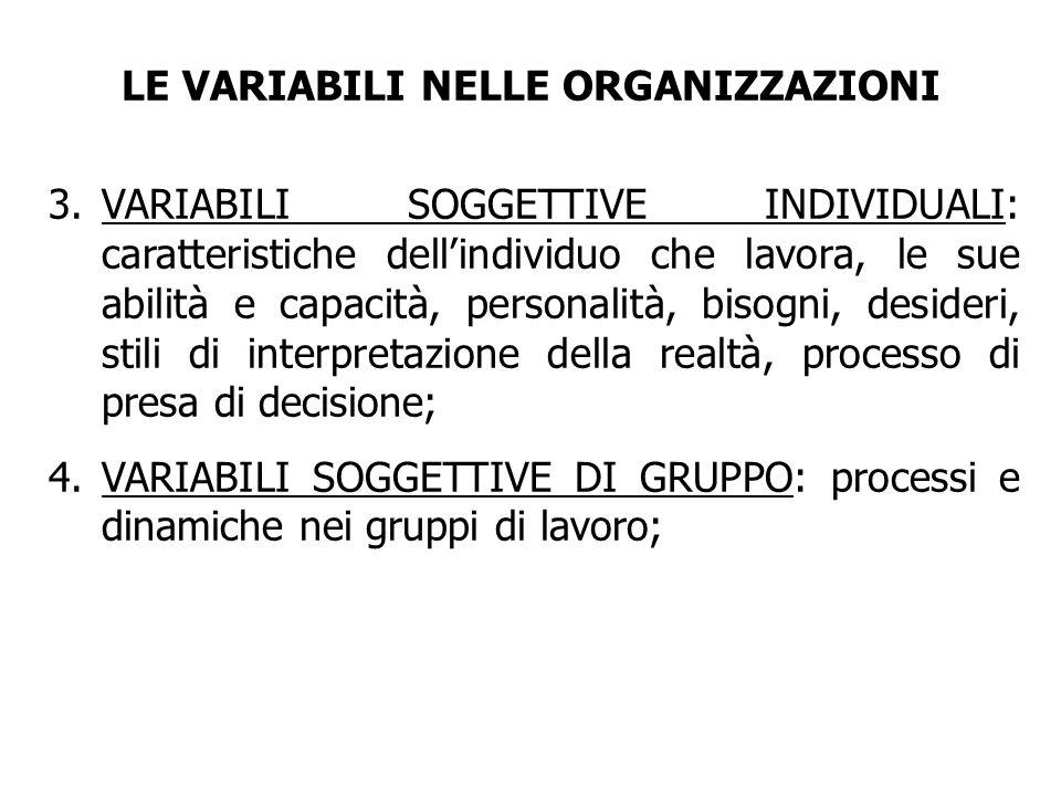 3.VARIABILI SOGGETTIVE INDIVIDUALI: caratteristiche dellindividuo che lavora, le sue abilità e capacità, personalità, bisogni, desideri, stili di inte