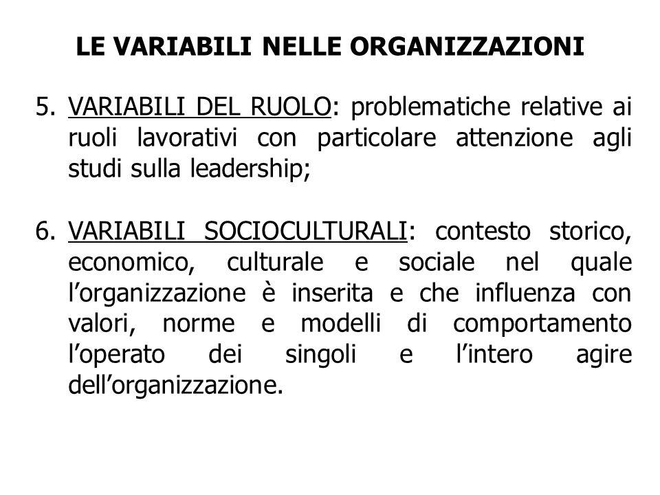 5.VARIABILI DEL RUOLO: problematiche relative ai ruoli lavorativi con particolare attenzione agli studi sulla leadership; 6.VARIABILI SOCIOCULTURALI: