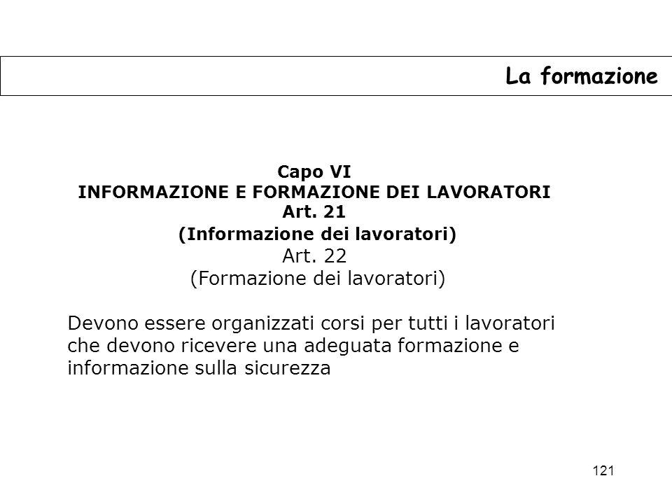121 La formazione Capo VI INFORMAZIONE E FORMAZIONE DEI LAVORATORI Art.