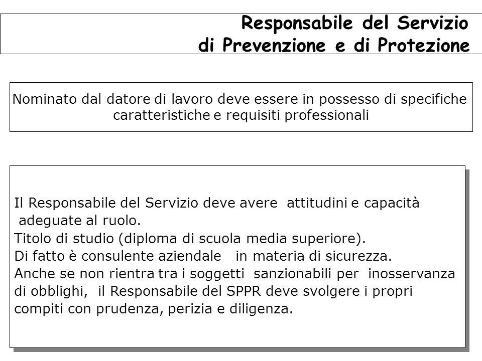 124 Il Responsabile del Servizio deve avere attitudini e capacità adeguate al ruolo.