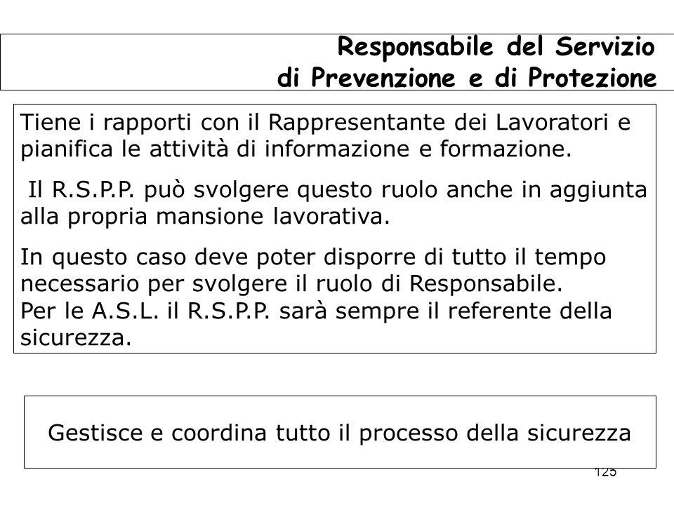125 Responsabile del Servizio di Prevenzione e di Protezione Tiene i rapporti con il Rappresentante dei Lavoratori e pianifica le attività di informazione e formazione.