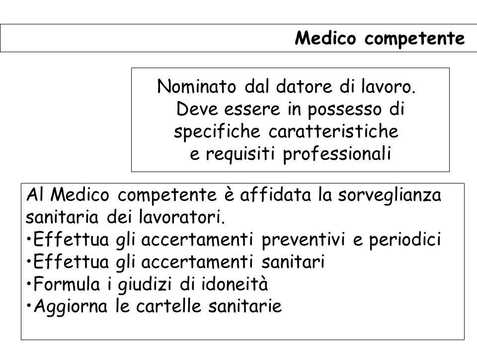127 Medico competente Nominato dal datore di lavoro.