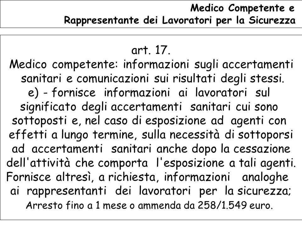129 Medico Competente e Rappresentante dei Lavoratori per la Sicurezza art.