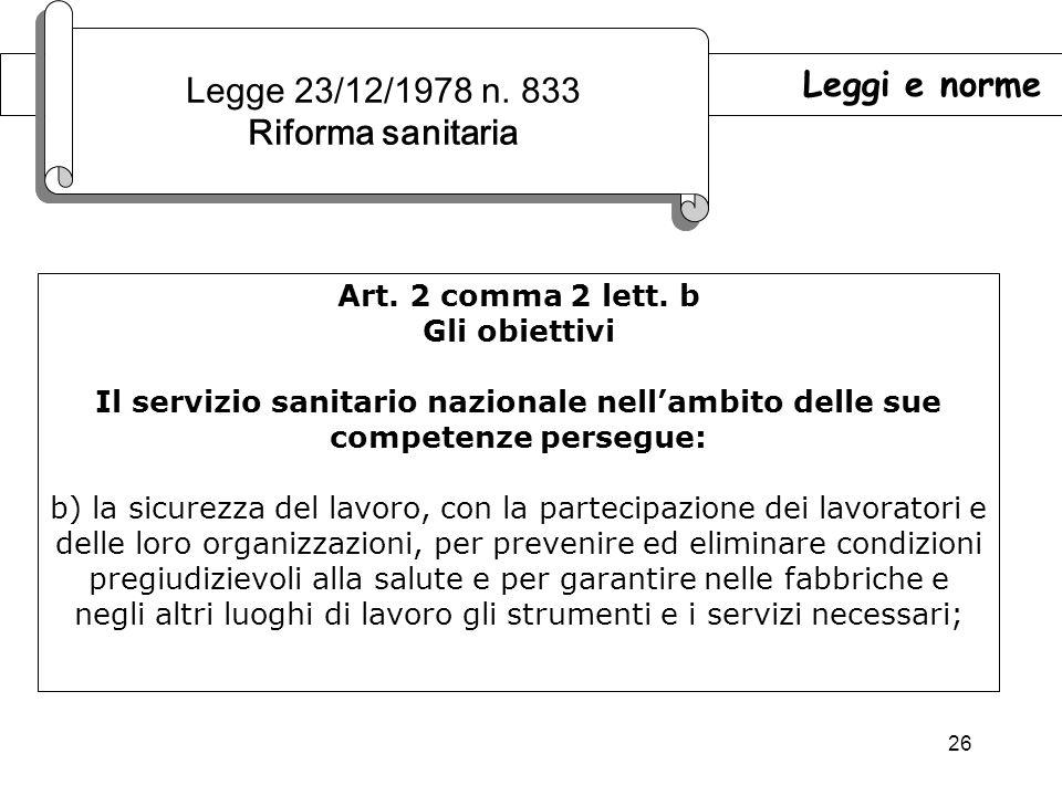 26 Leggi e norme Legge 23/12/1978 n.833 Riforma sanitaria Legge 23/12/1978 n.