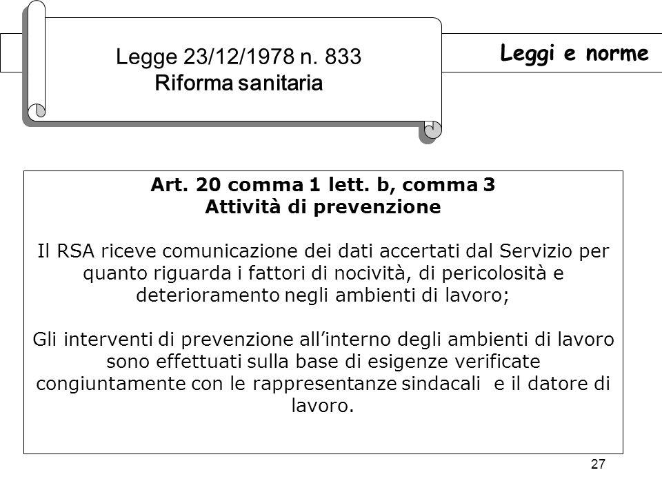 27 Leggi e norme Legge 23/12/1978 n.833 Riforma sanitaria Legge 23/12/1978 n.