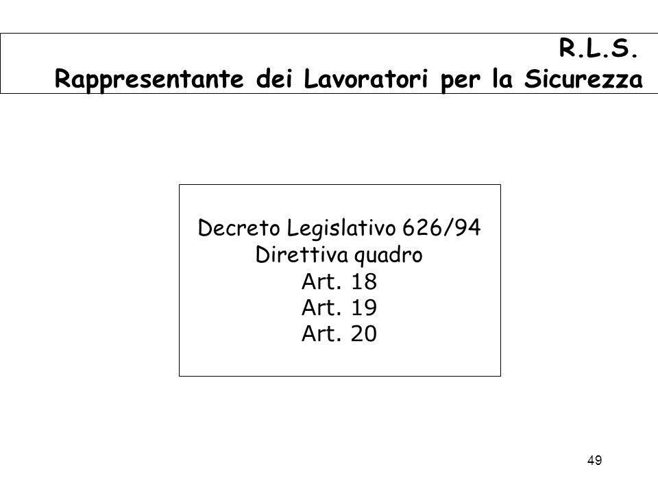 49 Decreto Legislativo 626/94 Direttiva quadro Art.
