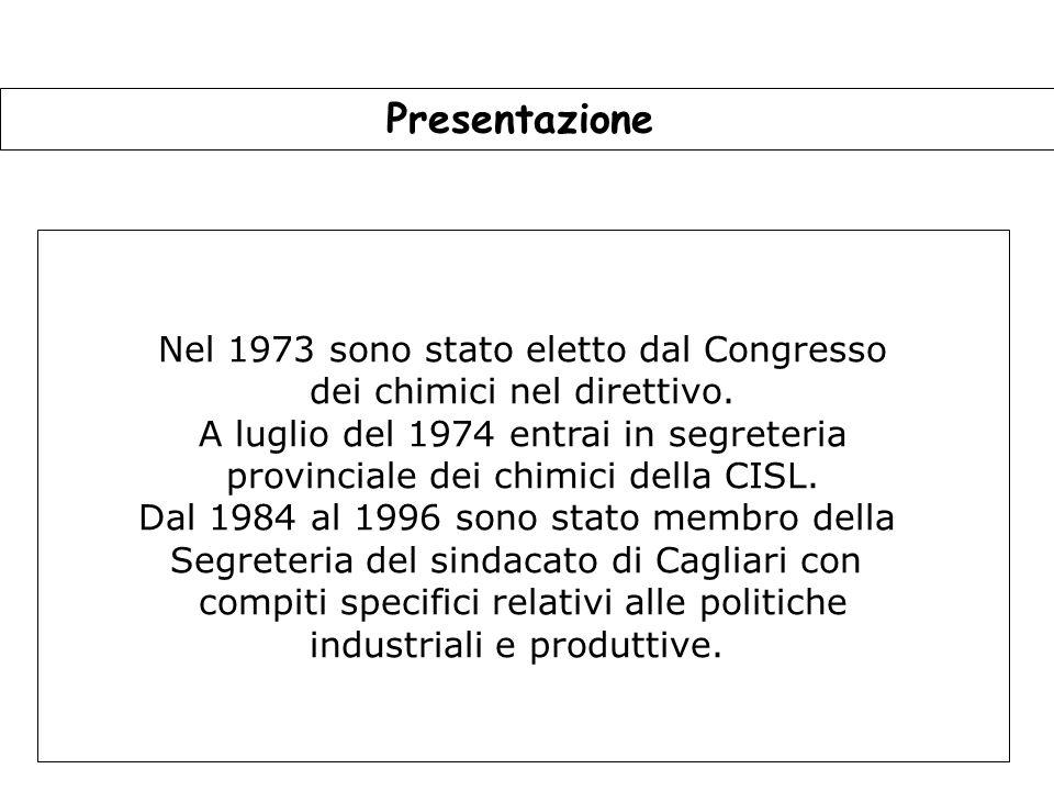 5 Presentazione Nel 1973 sono stato eletto dal Congresso dei chimici nel direttivo.