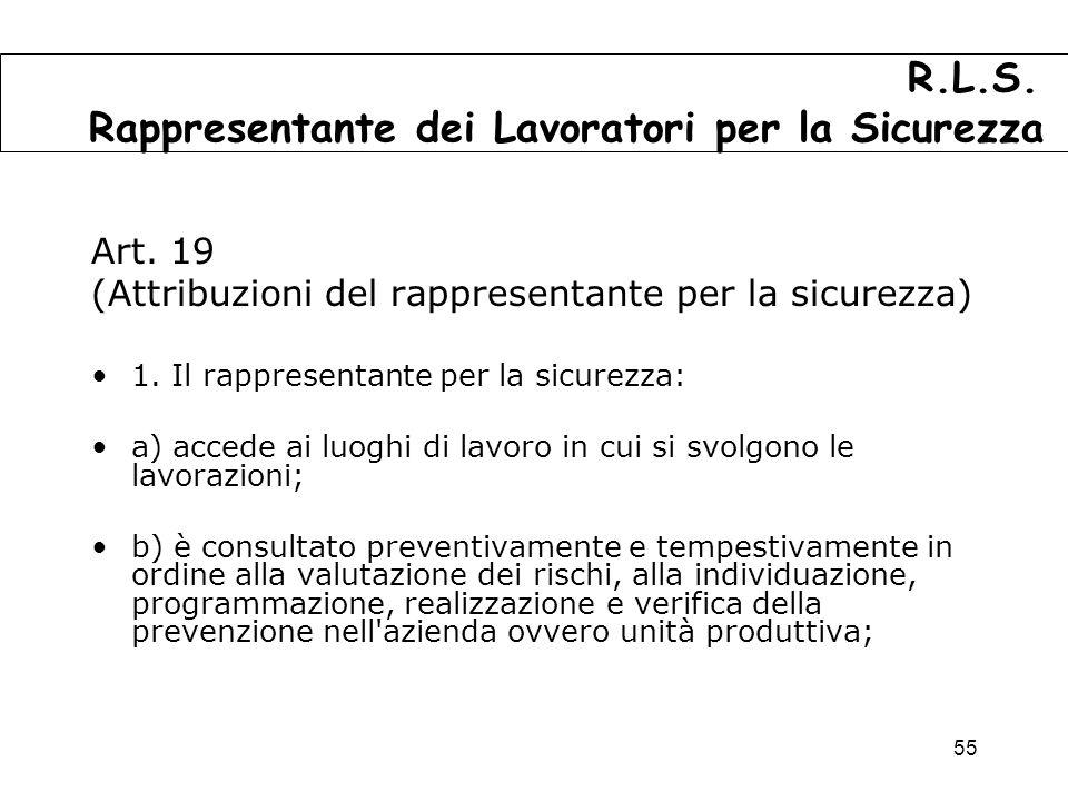 55 Art.19 (Attribuzioni del rappresentante per la sicurezza) 1.
