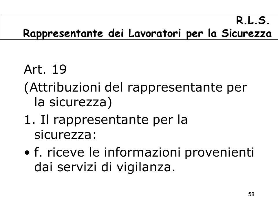 58 Art.19 (Attribuzioni del rappresentante per la sicurezza) 1.