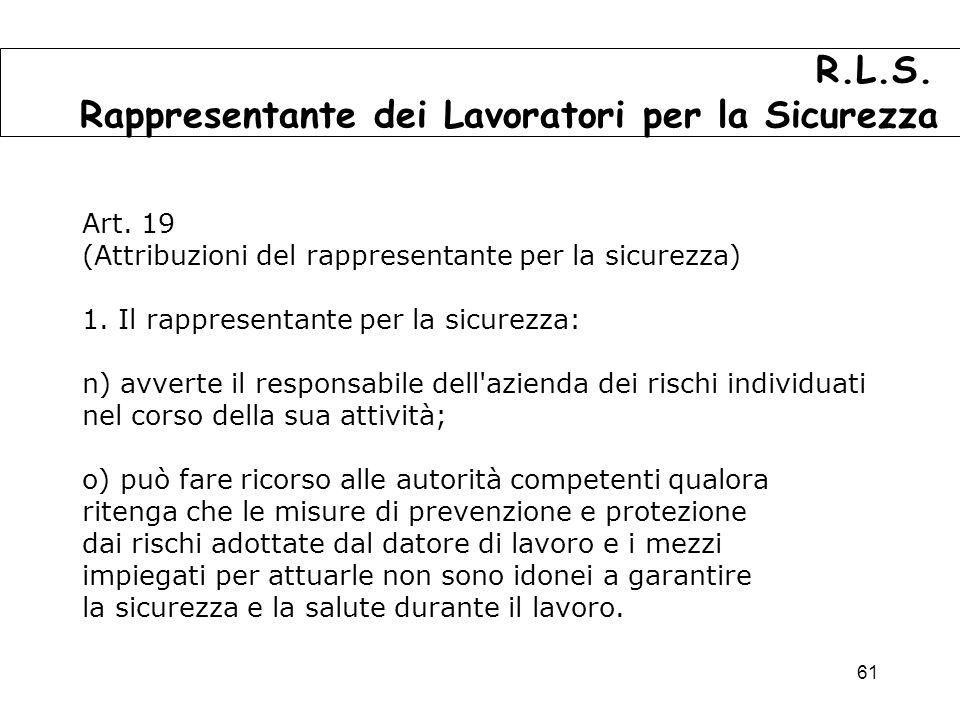 61 Art.19 (Attribuzioni del rappresentante per la sicurezza) 1.