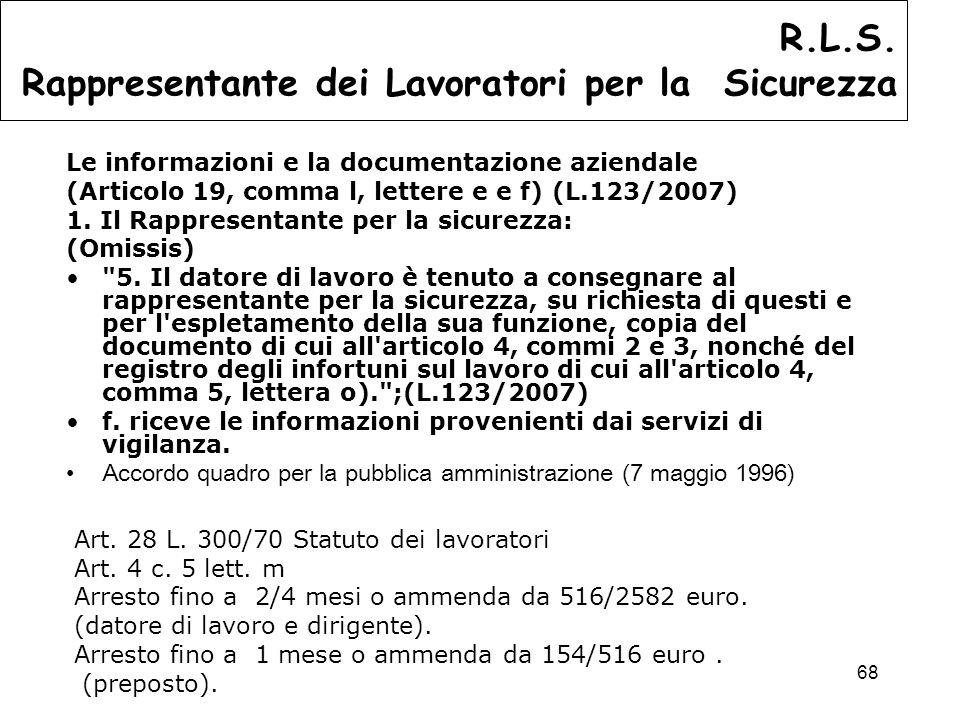 68 Le informazioni e la documentazione aziendale (Articolo 19, comma l, lettere e e f) (L.123/2007) 1.