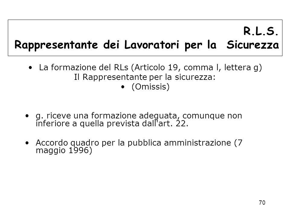 70 La formazione del RLs (Articolo 19, comma l, lettera g) Il Rappresentante per la sicurezza: (Omissis) g.