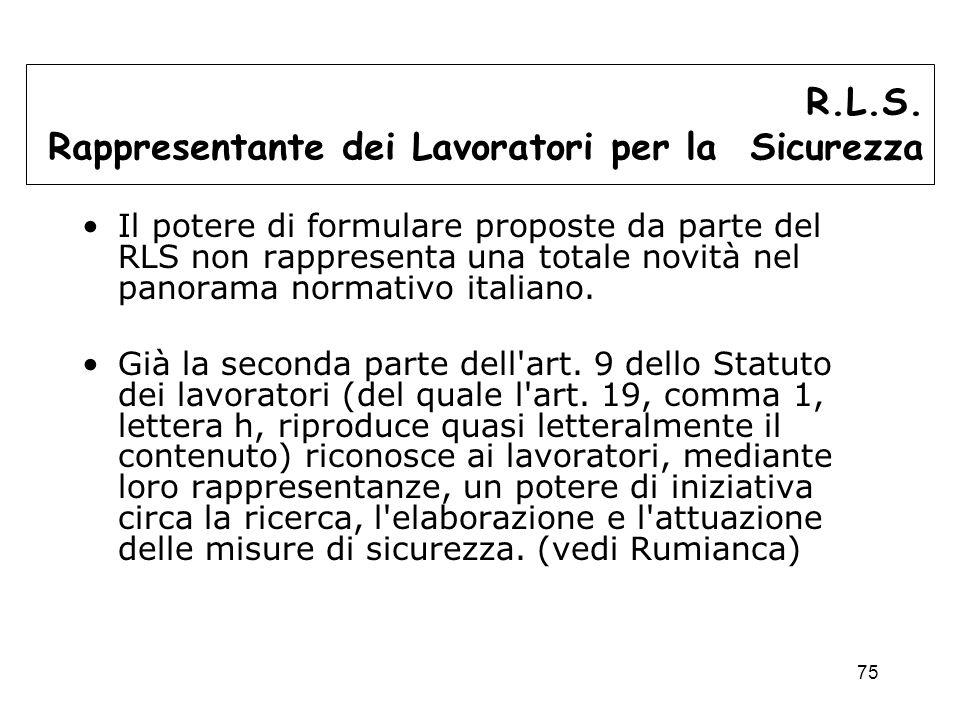 75 Il potere di formulare proposte da parte del RLS non rappresenta una totale novità nel panorama normativo italiano.
