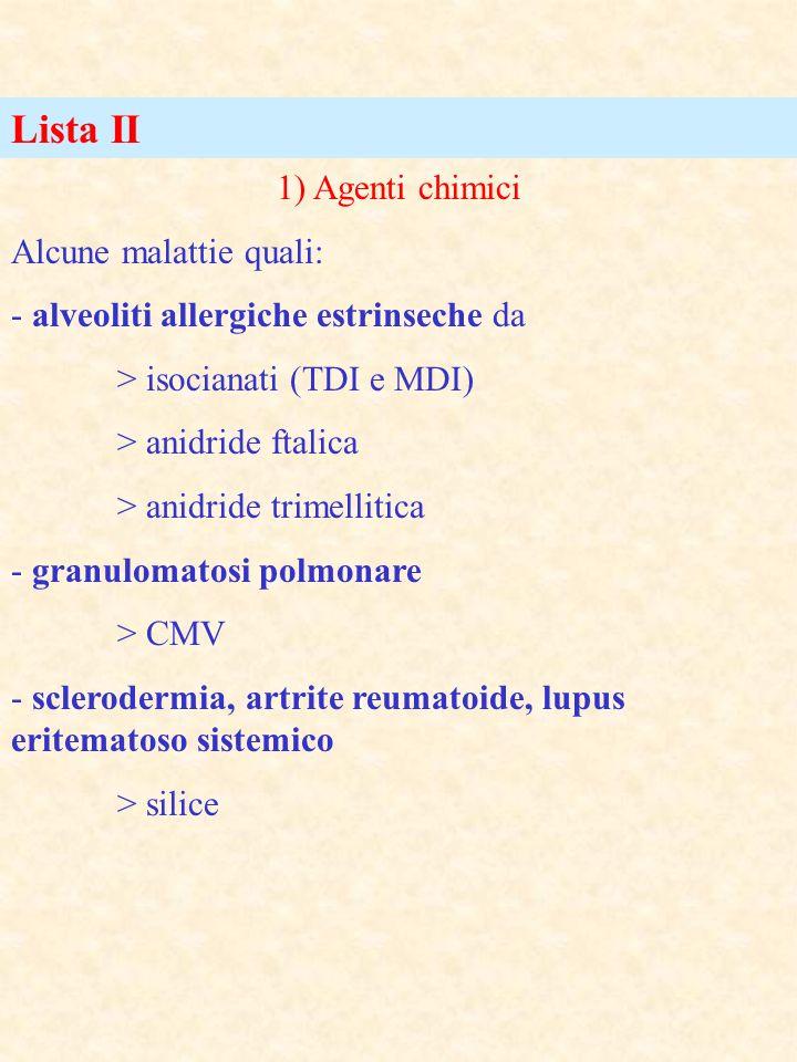 Lista II 1) Agenti chimici Alcune malattie quali: - alveoliti allergiche estrinseche da > isocianati (TDI e MDI) > anidride ftalica > anidride trimell