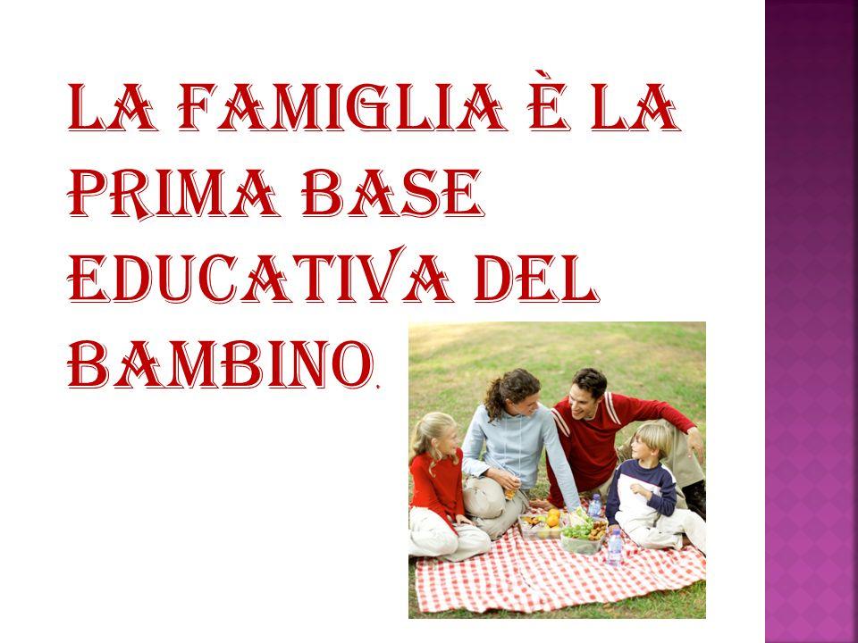 La famiglia è la prima base educativa del bambino.