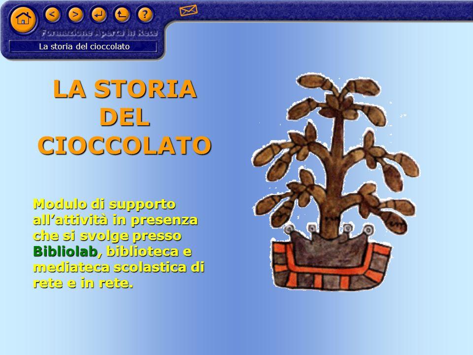 La storia del cioccolato LA STORIA DEL CIOCCOLATO Modulo di supporto allattività in presenza che si svolge presso Bibliolab, biblioteca e mediateca sc