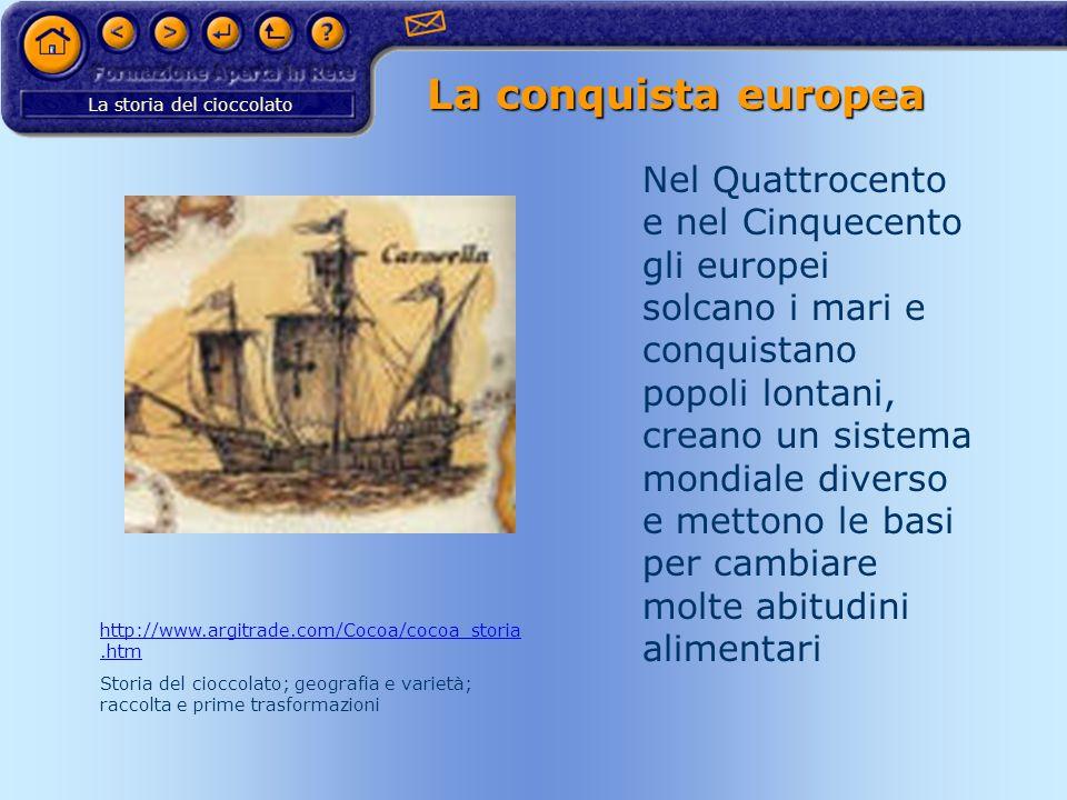 La storia del cioccolato La conquista europea Nel Quattrocento e nel Cinquecento gli europei solcano i mari e conquistano popoli lontani, creano un si