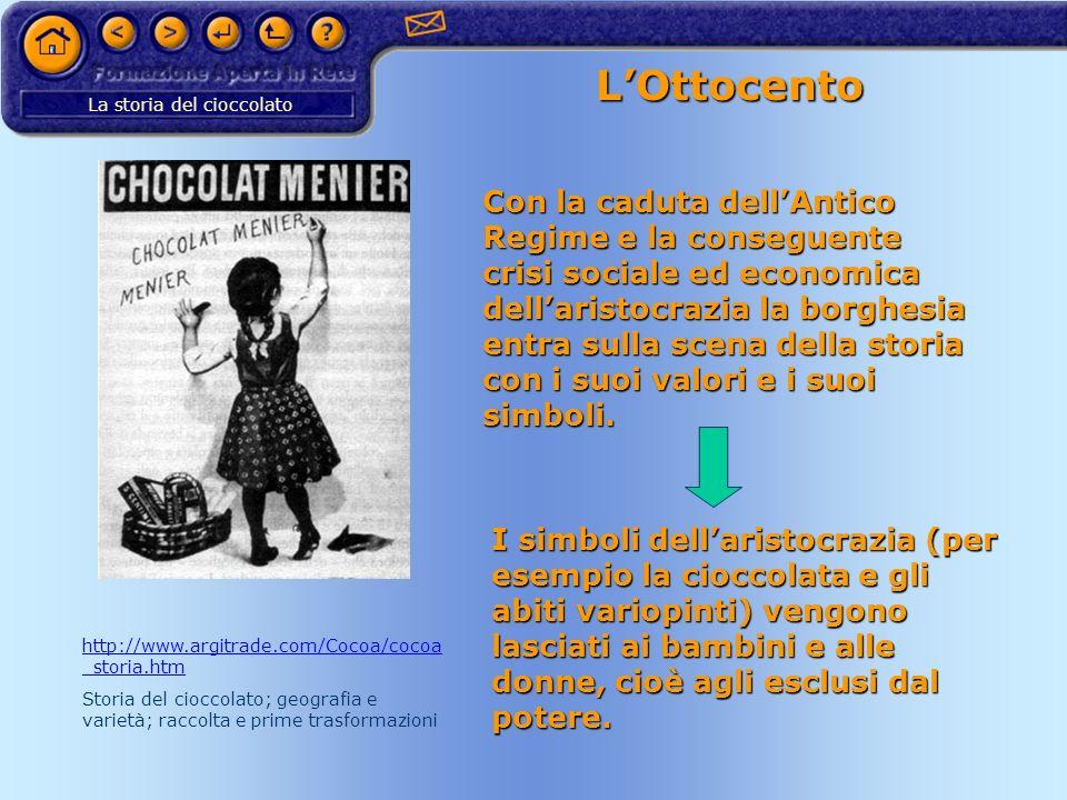 La storia del cioccolato LOttocento Con la caduta dellAntico Regime e la conseguente crisi sociale ed economica dellaristocrazia la borghesia entra su
