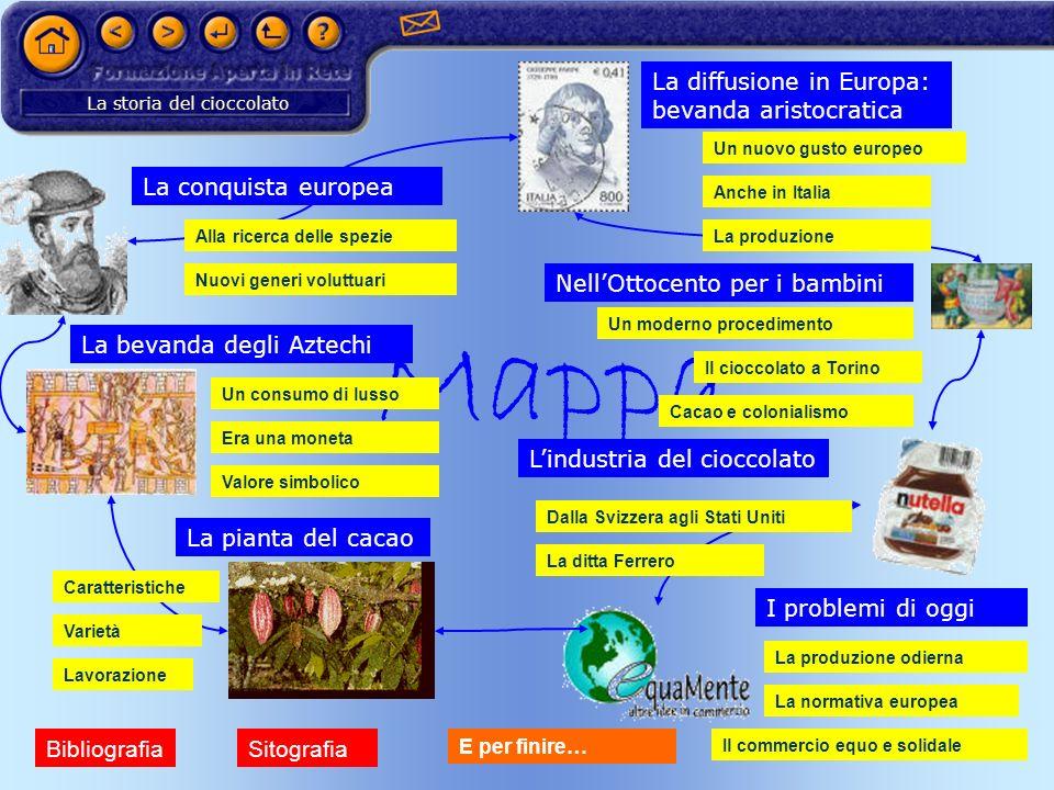 La storia del cioccolato Mappa Lindustria del cioccolato I problemi di oggi La pianta del cacao NellOttocento per i bambini La diffusione in Europa: b