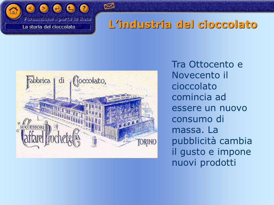 La storia del cioccolato Lindustria del cioccolato Tra Ottocento e Novecento il cioccolato comincia ad essere un nuovo consumo di massa. La pubblicità
