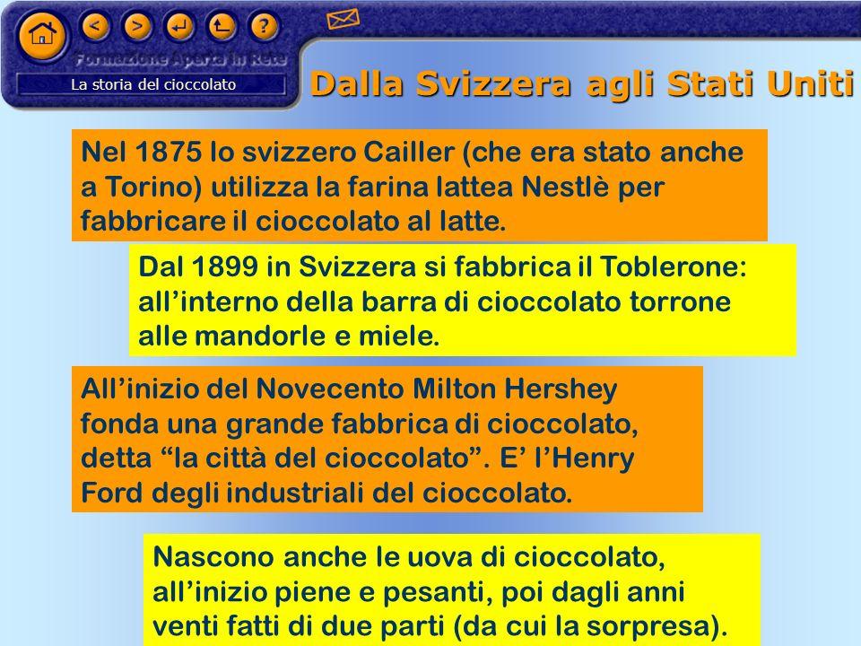 La storia del cioccolato Dalla Svizzera agli Stati Uniti Nel 1875 lo svizzero Cailler (che era stato anche a Torino) utilizza la farina lattea Nestlè