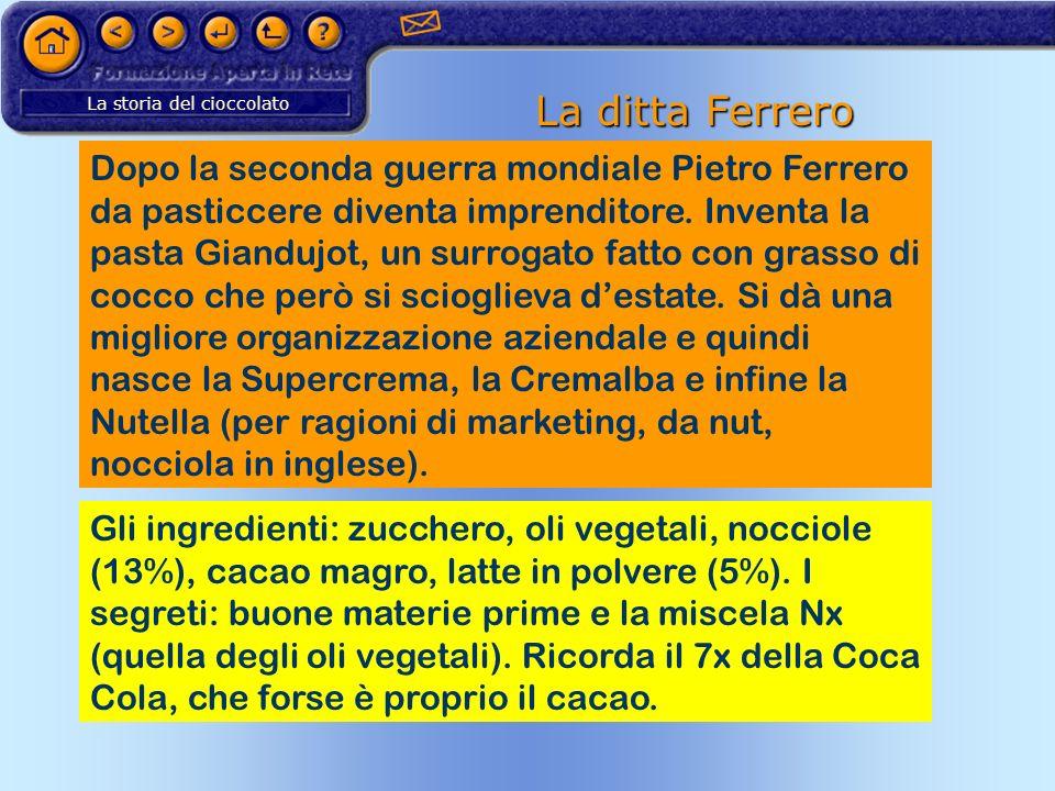 La storia del cioccolato La ditta Ferrero Dopo la seconda guerra mondiale Pietro Ferrero da pasticcere diventa imprenditore. Inventa la pasta Giandujo
