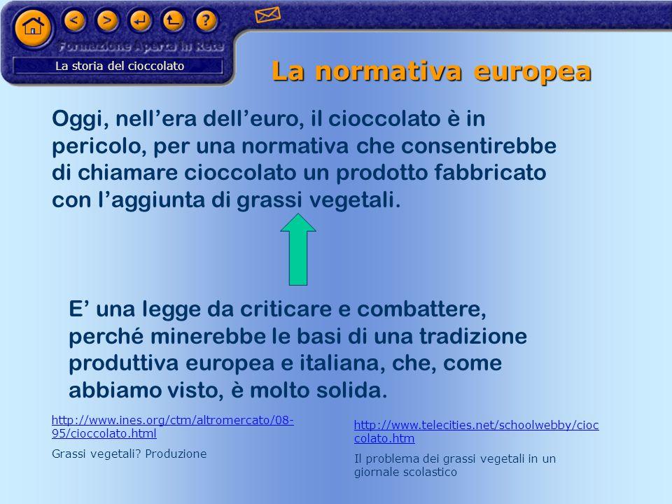 La storia del cioccolato La normativa europea Oggi, nellera delleuro, il cioccolato è in pericolo, per una normativa che consentirebbe di chiamare cio