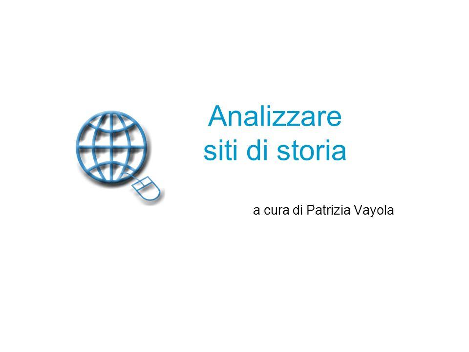 Analizzare siti di storia a cura di Patrizia Vayola