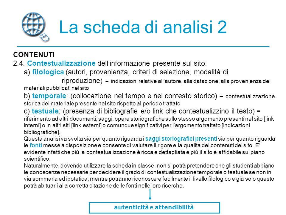 La scheda di analisi 2 CONTENUTI 2.4.
