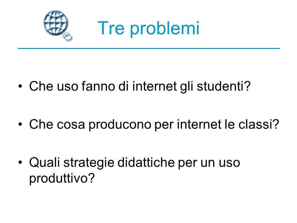 Tre problemi Che uso fanno di internet gli studenti.