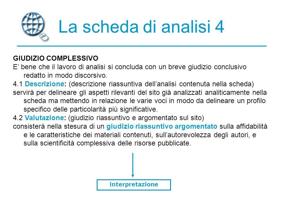 La scheda di analisi 4 GIUDIZIO COMPLESSIVO E bene che il lavoro di analisi si concluda con un breve giudizio conclusivo redatto in modo discorsivo.