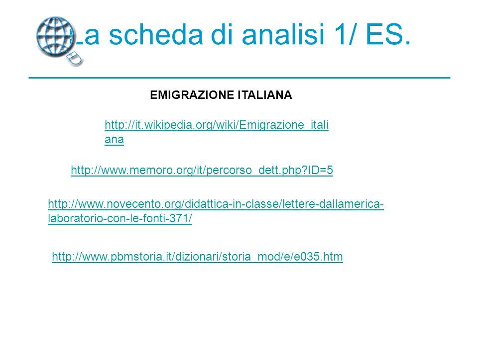 La scheda di analisi 1/ ES.