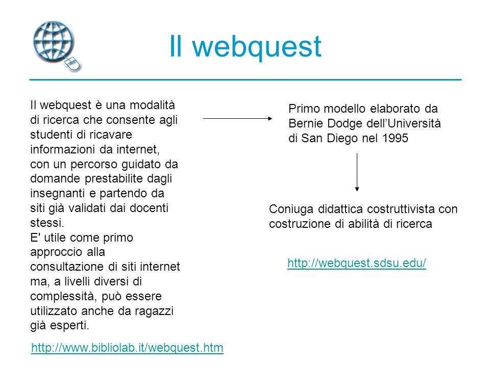 Il webquest Il webquest è una modalità di ricerca che consente agli studenti di ricavare informazioni da internet, con un percorso guidato da domande prestabilite dagli insegnanti e partendo da siti già validati dai docenti stessi.