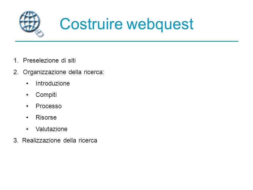 Costruire webquest 1.Preselezione di siti 2.Organizzazione della ricerca: Introduzione Compiti Processo Risorse Valutazione 3.