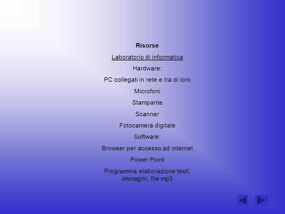 Risorse Laboratorio di informatica Hardware: PC collegati in rete e tra di loro Microfoni Stampante Scanner Fotocamera digitale Software: Browser per