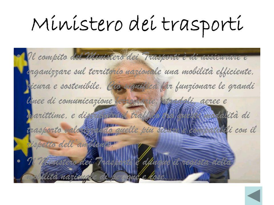 Ministero dei trasporti Il compito del Ministero dei Trasporti è di assicurare e organizzare sul territorio nazionale una mobilità efficiente, sicura e sostenibile.