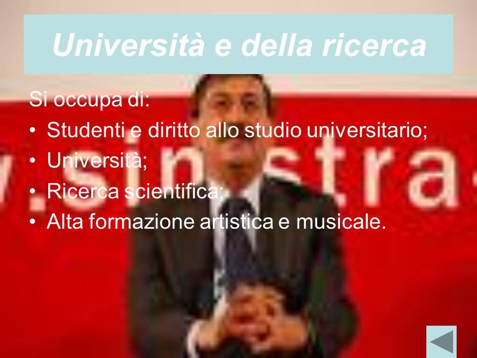 Università e della ricerca Si occupa di: Studenti e diritto allo studio universitario; Università; Ricerca scientifica; Alta formazione artistica e musicale.