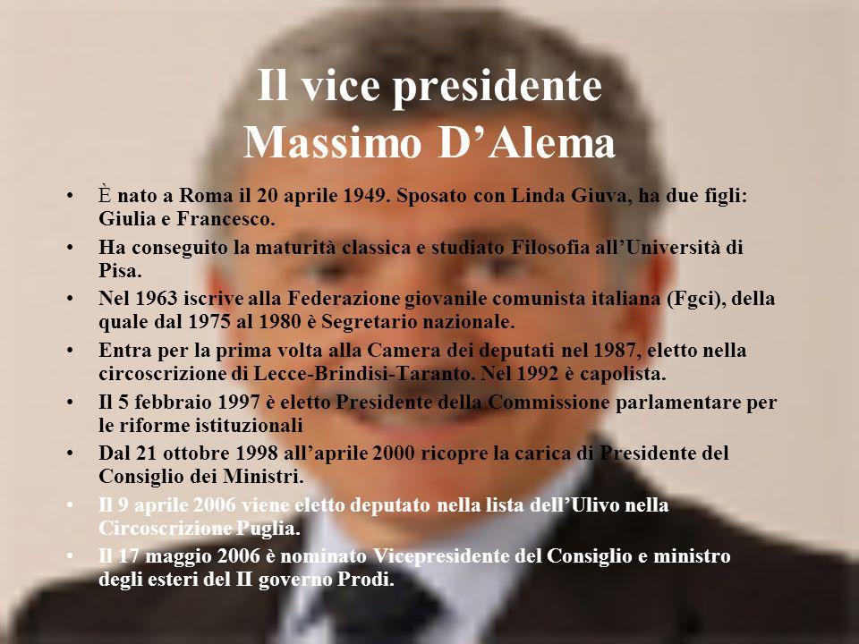 Il vice presidente Massimo DAlema È nato a Roma il 20 aprile 1949.