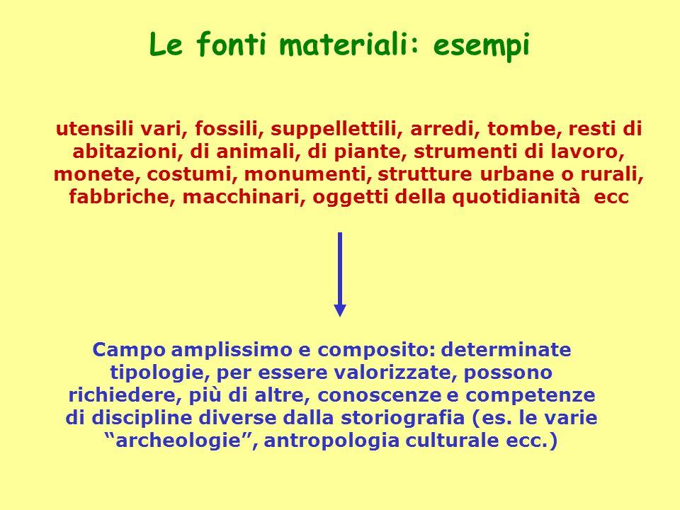 Le fonti materiali: esempi utensili vari, fossili, suppellettili, arredi, tombe, resti di abitazioni, di animali, di piante, strumenti di lavoro, mone