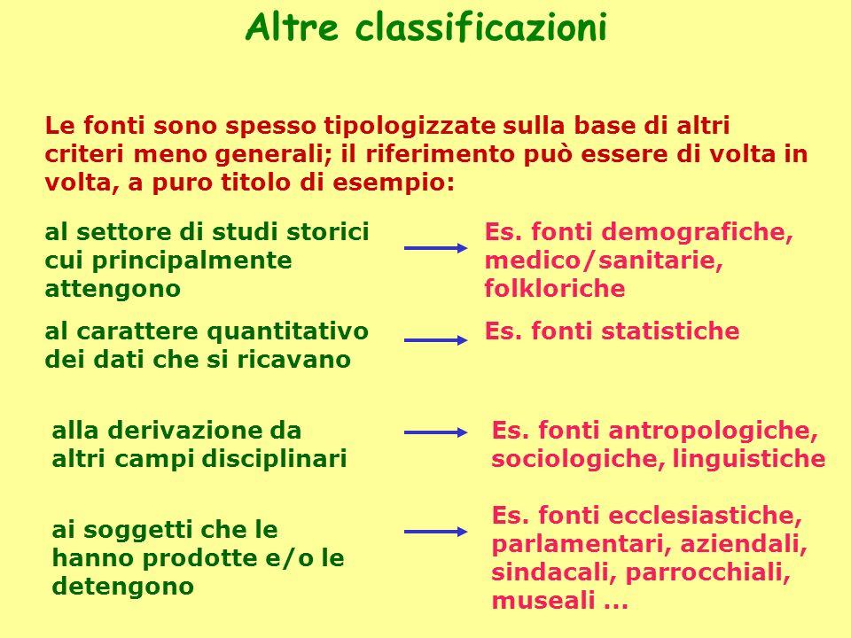 Altre classificazioni Le fonti sono spesso tipologizzate sulla base di altri criteri meno generali; il riferimento può essere di volta in volta, a pur