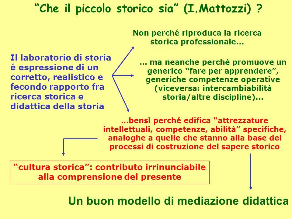 Un buon modello di mediazione didattica Che il piccolo storico sia (I.Mattozzi) ? Il laboratorio di storia é espressione di un corretto, realistico e